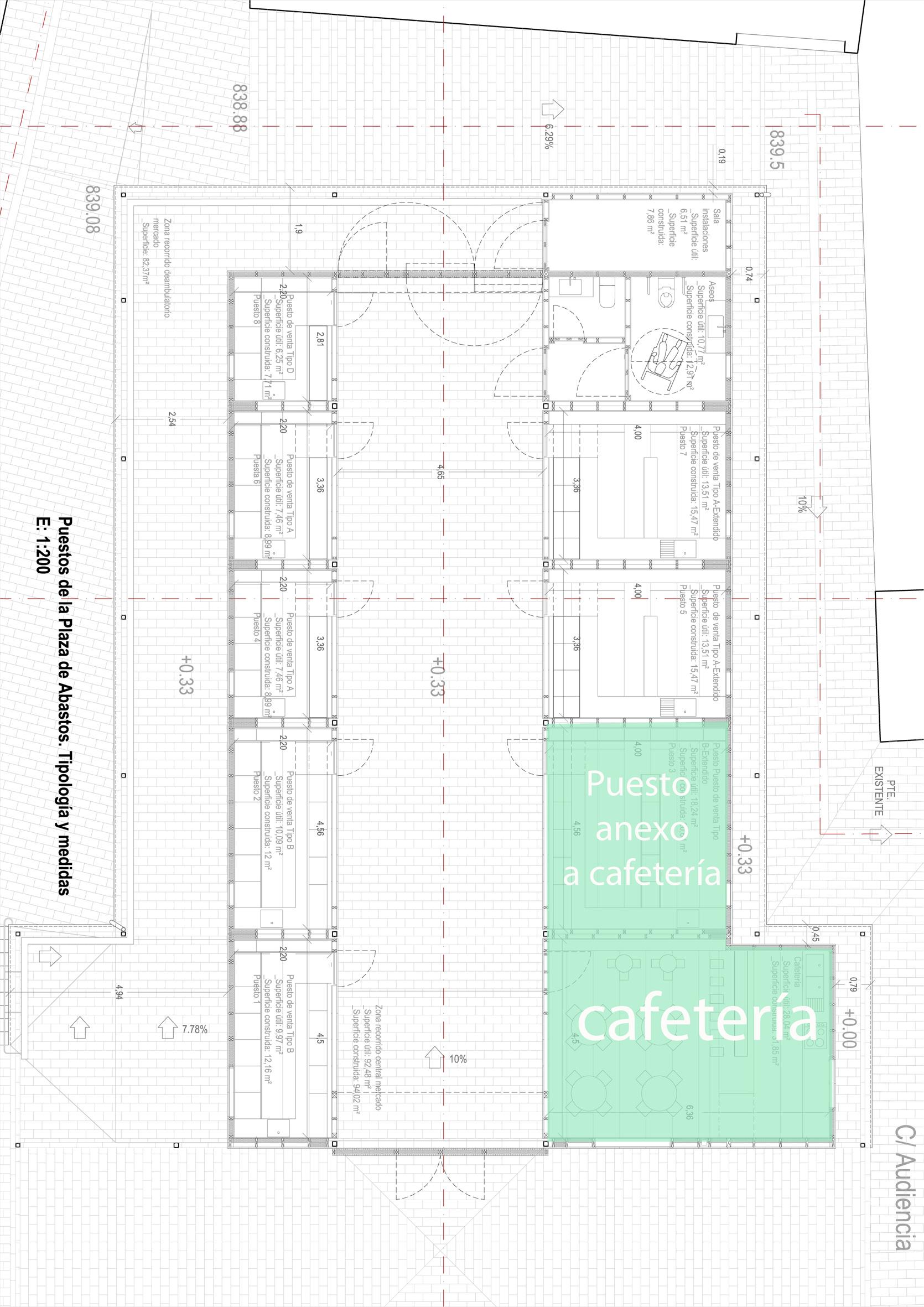 Plano de la cafetería de la Plaza de Abastos