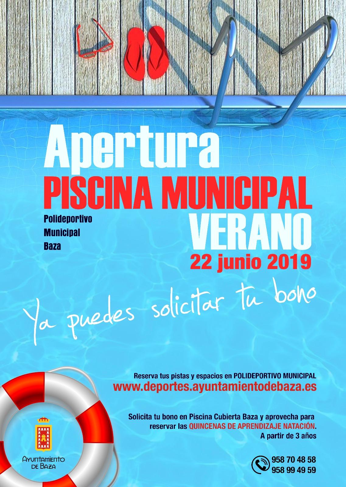 cartel apertura de la piscina de verano
