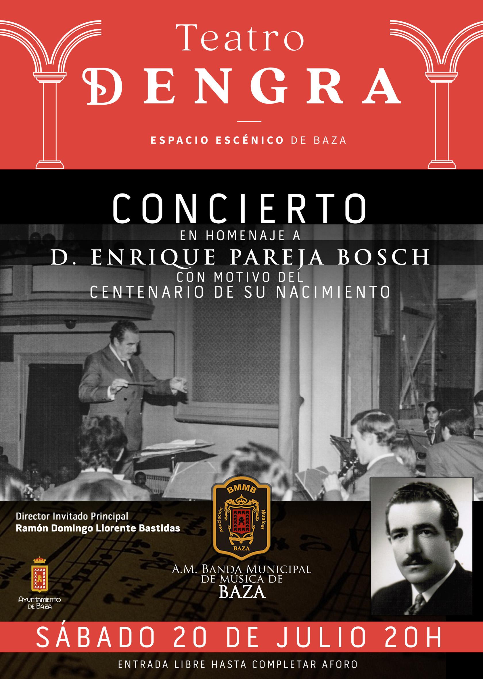 Cartel del concierto en homenaje a Enrique Pareja en Baza