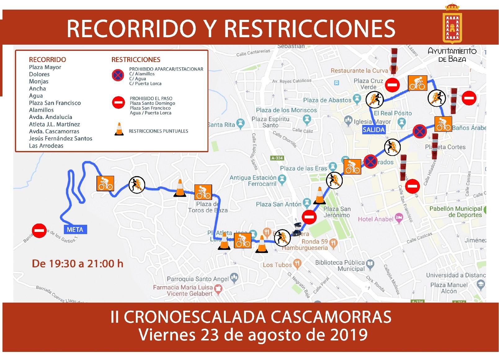 Recorrido y cortes de tráfico de la Crono escalada de Cascamorras