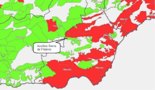 Mapa de los acuíferos de la Sierra de los Filabres y de Baza