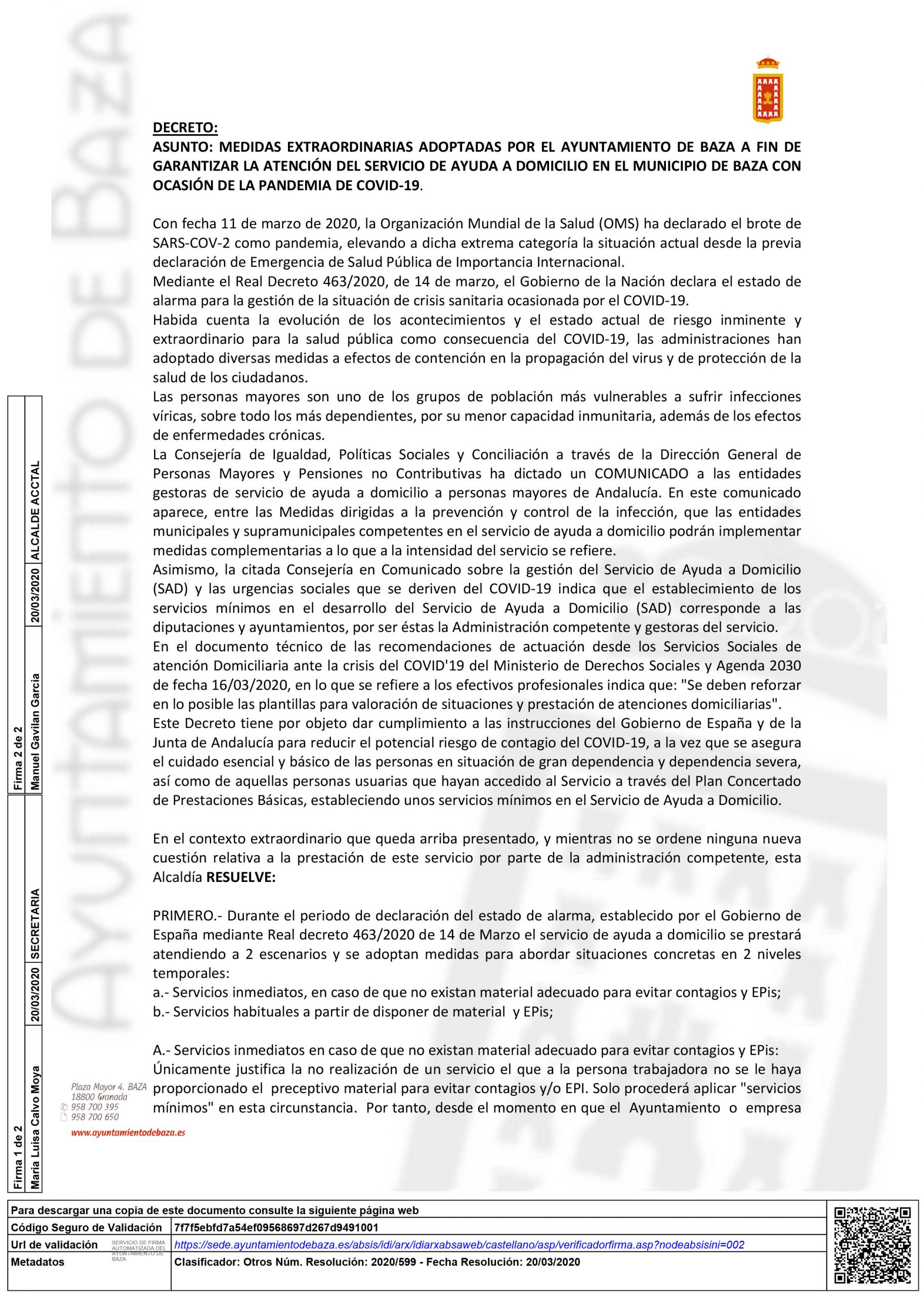 Decreto que establece los servicios mínimos en SAD en Baza