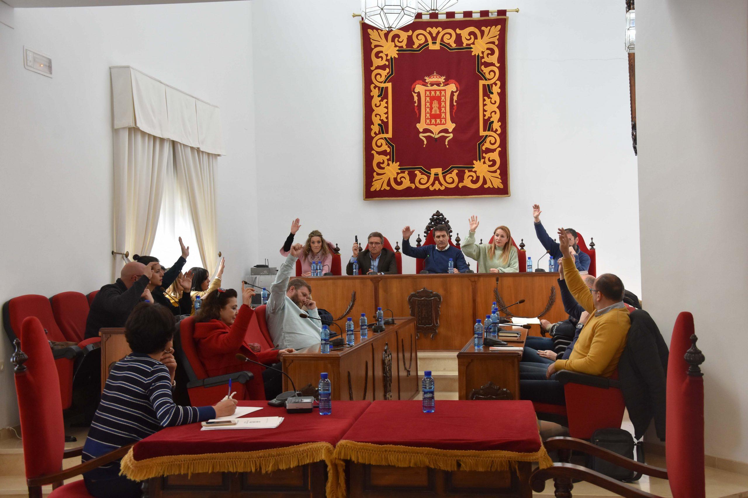 Momento de la votación de la moción en favor de la igualdad en pleno extraordinario en Baza