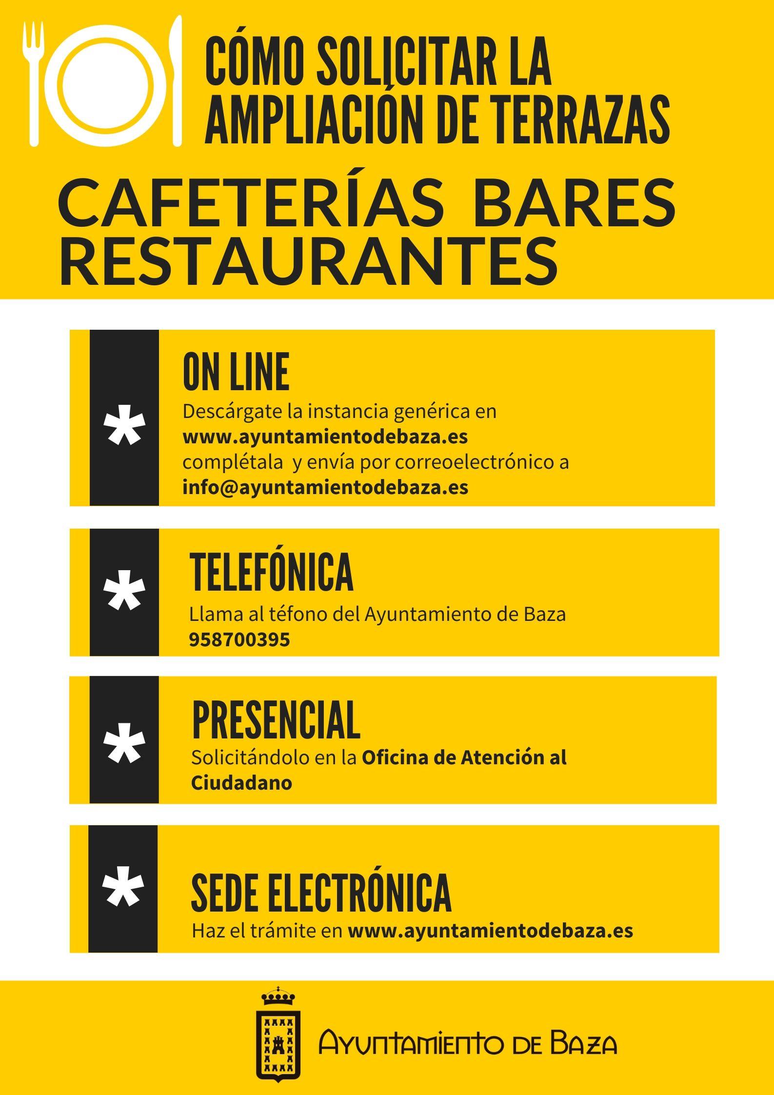 Cartel de indicaciones para ampliar las terrazas de bares, restaurantes y cafeterías en Baza