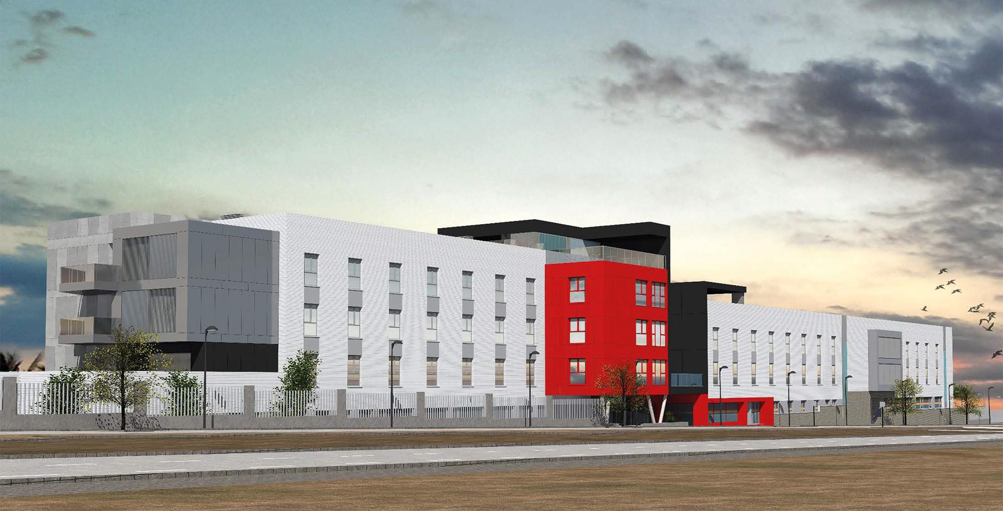 Imagen de una de las fachadas del nuevo edificio que integra a la residencia actual
